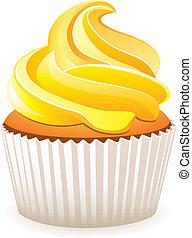 ベクトル, 黄色, cupcake