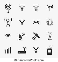 ベクトル, 黒, セット, 別, 無線, アイコン, wifi