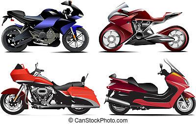 ベクトル, 4, 現代, イラスト, motorcycle.