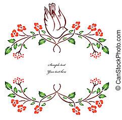 ベクトル, branch., 花, 鳥, モデル
