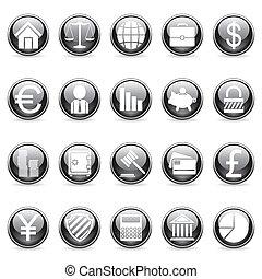 ベクトル, buttons., 金融, ビジネス