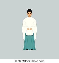ベクトル, confession, イラスト, 伝統的である, 司祭, 神道, 衣類, マレ, 宗教, 代表者