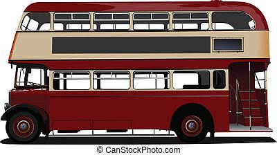 ベクトル, decker, ダブル, 赤, 病気, bus.