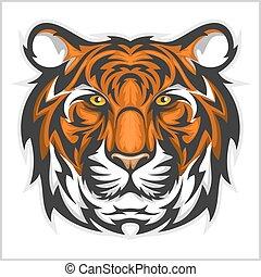 ベクトル, face., tiger, head., トラ, イラスト