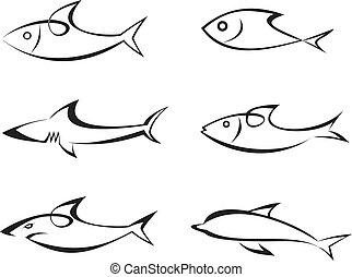 ベクトル, fish, セット, -, アイコン