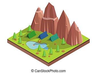 ベクトル, forest., 等大, キャンプ