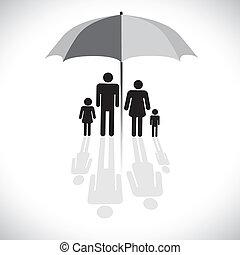 ベクトル, four(father, 概念, 傘, 反射, 家族, &, graphic-, 日よけ, 息子, グラフィック, 母, daughter), icon., protection(insurance), シンボル。, ショー