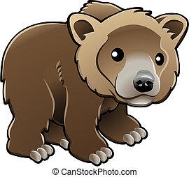 ベクトル, grizzly, ヒグマ, かわいい, イラスト