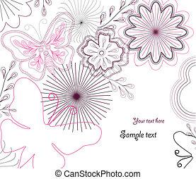 ベクトル, hand-drawn, 花, butterfly.
