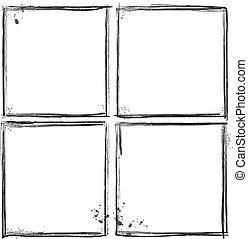 ベクトル, illust, セット, グランジ, frames.