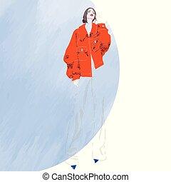 ベクトル, illustration., ファッション