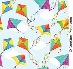 ベクトル, pattern., 凧, 背景