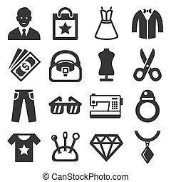 ベクトル, set., ファッション, 買い物, アイコン
