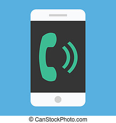ベクトル, smartphone, 鳴り響く, アイコン