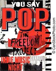 ベクトル, template., 背景, ポスター, グラフィック, ポップミュージック, design.
