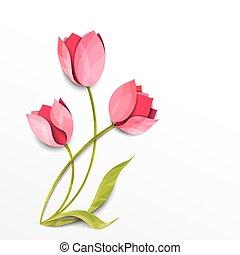 ベクトル, tulips., 花束, 隔離された, ペーパー, white., 芸術, 花