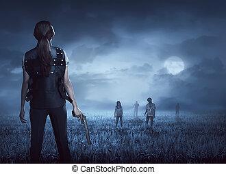 ベスト, 女, 勇士, ファインド, zombies