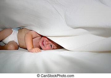 ベッドシーツ, 下に, 赤ん坊, 遊び, 幸せ