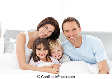 ベッド, 幸せ, モデル, 肖像画, 家族