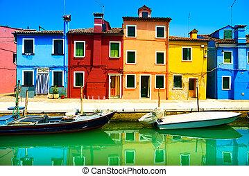 ベニス, burano, 運河, カラフルである, 島, 写真撮影, italy., 長い間, 家, ランドマーク, ボート, さらされること