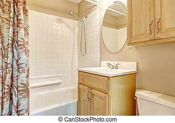 ベージュ, 花, 木製である, 浴室, カーテン, ライト, キャビネット