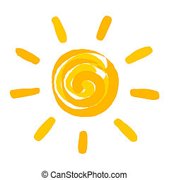 ペイントされた, 太陽, イラスト