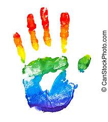 ペイントされた, 虹, 形, 手