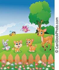ペット, かわいい, 動物, 庭