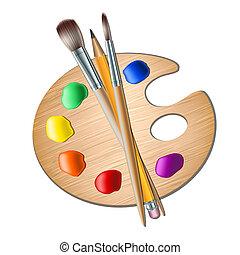 ペンキのパレット, 美術ブラシ, 図画