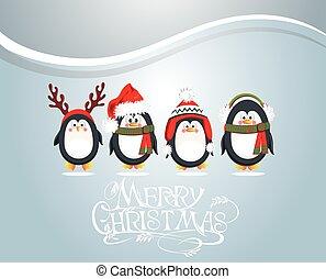 ペンギン, クリスマスカード, かわいい