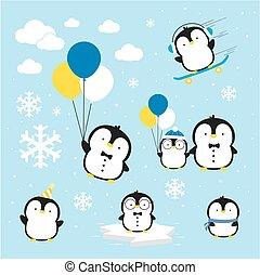 ペンギン, ベクトル, かわいい