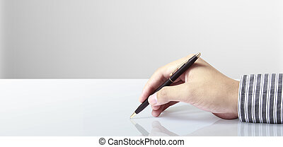 ペン, 白い背景, 手