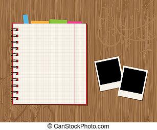 ページ, 背景, 木製である, 写真, デザイン, ノート