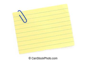 ペーパークリップ, 青, 黄色, notepaper