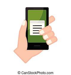 ペーパー, アイコン, smartphone, 手を持つ