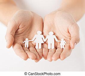 ペーパー, 人, 女性, 家族, 手