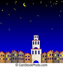 ペーパー, 夜, 作られた, 古い, townscape