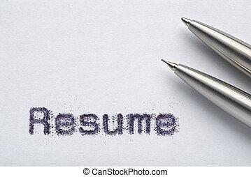 ペーパー, 履歴書, 鉛筆, 単語, 白, ペン, ボールペン, 金属