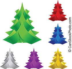 ペーパー, 抽象的, 木。, クリスマス