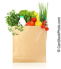 ペーパー, 新たに, 袋, 食料雑貨, 健康