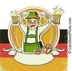 ペーパー, 背景, oktoberfest, 老人, beers., シンボル, ドイツ語, 型