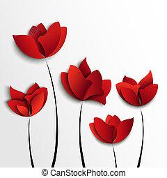 ペーパー, 花, 5, 赤