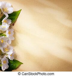 ペーパー, 芸術, 春, 背景, フレーム, 花