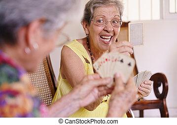 ホスピス, カード 遊ぶこと, 古い, ゲーム, 女性, 楽しみなさい