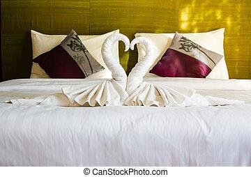 ホテル, タオル, bed., きれいにしなさい, 白