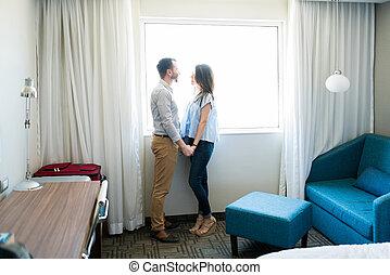 ホテル, ロマンチック, 部屋, 新婚旅行, 女, 人