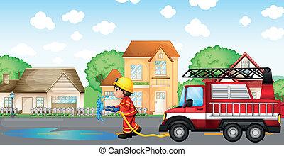 ホース, 消防士, 火, 背中, トラック, 保有物