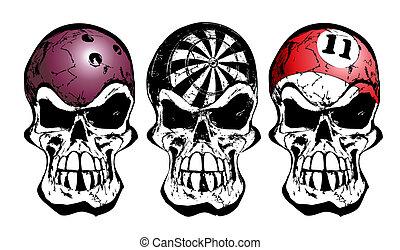 ボウリング, ビリヤード, 頭骨, さっと動く