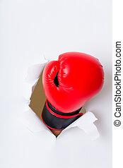 ボクシング用グラブ, 手, ペーパー, によって, 穴
