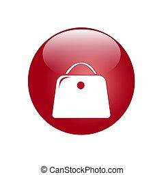 ボタン, あなたの, 袋, ベクトル, icon., イメージ, 赤, design.